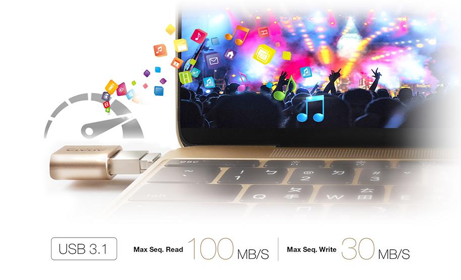 فلش مموری USB Type-C ای دیتا USB3.1 مدل UC350